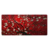 Meffort Inc Extra Large Extended Gaming Desk Mat Non-Slip Rubber Pads Stitched Edges Mouse Pad 35.4 x 15.7 inch - Cherry Blossom