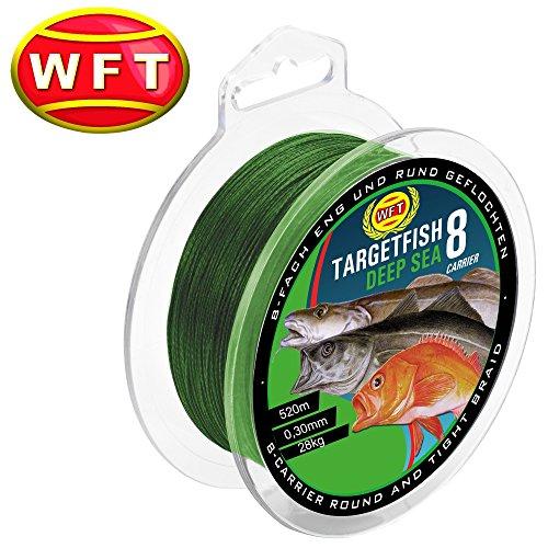 WFT TF8 Deep Sea green 520m 0,30mm 28kg - Meeresschnur zum Pilkangeln, geflochtene Angelschnur zum Meeresangeln in Norwegen