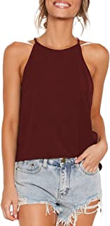 Sarin Mathews Womens Halter Tops Casual Basic Tee Shirts Summer Sleeveless Tops