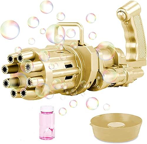 SXD 8 AgujerosMaquina Burbujas Niños, Máquina de Burbujas Automática, Maquina Pompas Jabon de para Niños Juego de Baño Fiestas Bodas (Dorado)