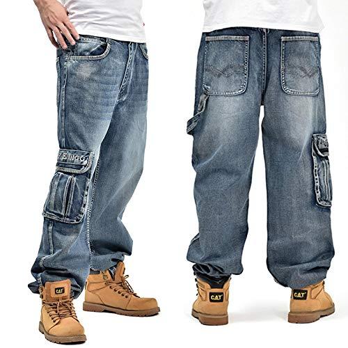 ShFhhwrl Vaqueros de Moda clásica Pantalones Vaqueros Holgados Azules para Hombre con Bolsillos Laterales Pantalones De Skate De