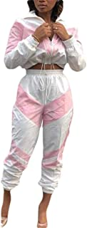 Womens 2 Piece Outfit Long Sleeve Color Block Crop Top Pants Tracksuit Set