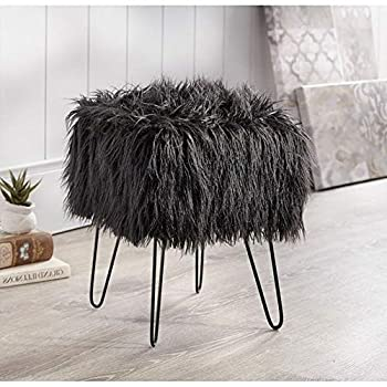 TRP 1 Piece Modern & Contemporary Glam Style Square Stool Black Solid Color Luxurious Faux Fur Standard Ottoman Foot Stool Pouf Cozy Comfy Soft Fluffy Stylish Living Room & Bedroom Decor