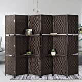 Esright 6 Panel Room Divider, 6 FT Tall&Extra Wide Weave Fiber Room Divider with Shelves, Folding Wall Dividers with Double Hinged for Room,Freestanding Room Separator, Coffee