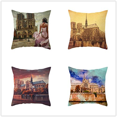 Set of 4 Pcs Throw Pillow Case Cushion Covers Colorful Castle Velvet Soft Superfine Fiber Square Decorative Throw Pillowcases for Living Room Sofa Car with Concealed Zip E5746 55x55cm/21.5x21.5in
