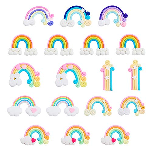 NBEADS 40 Pcs Rainbow Slime Charms, Handmade Polymer Clay Beads Colorful Flatback Polymer Clay Rainbow Cloud Ornaments for DIY Crafts