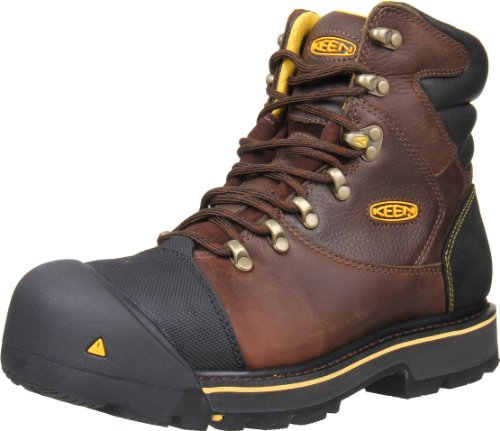 "KEEN Utility Men's Milwaukee 6"" Steel Toe Work Boot, 12D, Brown/Slate Black"