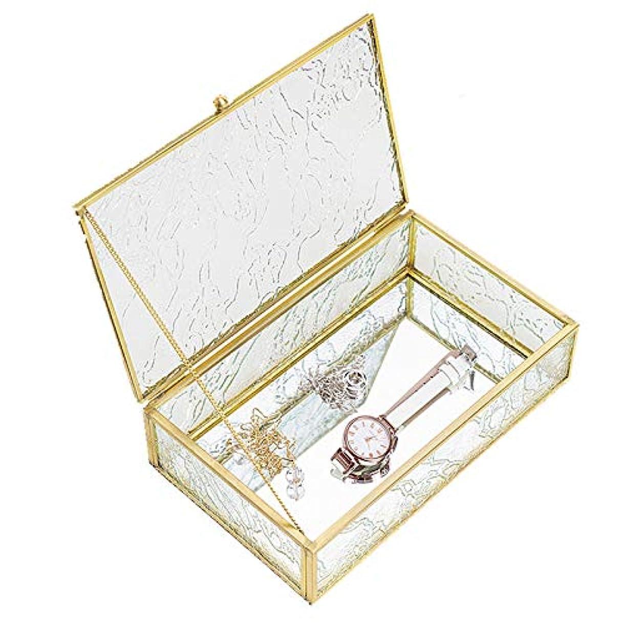 プレーヤー試験同志アクセサリーケース ジュエリーボックス 化粧品収納ボックスCC DECORガラスケース アクリルケース (透明なガラス, ガラス)