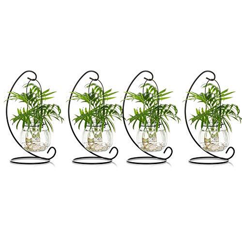 Juego de 4 bolas de terrario de cristal para colgar, diseño de calabaza, para decoración de velas, bolas de mesa, jarrones para boda, jardín, fiesta