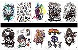 Interookie - 10 pegatinas de tatuaje falsos con tatuajes temporales en un solo paquete, diseños mixtos como rinoceronte, ciervo, calavera, tigre, caballo, barco, señora, perro, ciervo, etc.