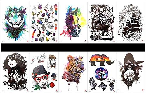 Interookie 10PCS falso tatuaggio adesivi tatuaggio temporaneo Tiger One colli, disegni misti come rinoceronte, cervi, teschio, Tiger, cavallo, barca, Lady, cane, cervi, ecc.