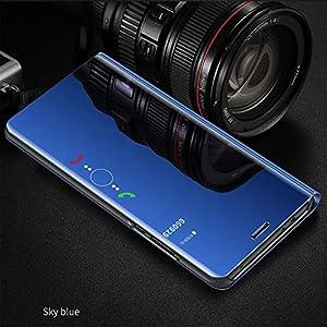Funda Xiaomi Pocophone F1 Flip Clear View Translúcido Espejo Standing Cover + cristal templado Slim Fit Anti-Shock Anti-Rasguño Mirror 360°Protectora Cubierta MLOTECH-Azul cielo