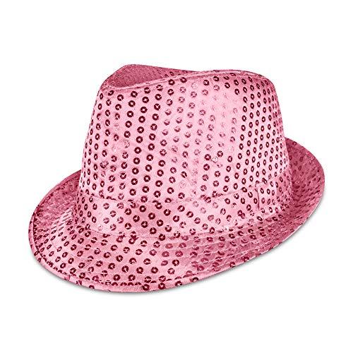 Windy City Novelties LED Light Up Sequin Fedora Party Hat (Pink)