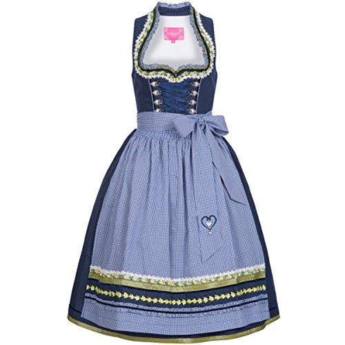 Krüger-Dirndl Damen Trachten-Mode Midi Dirndl Floretta in Blau traditionell, Größe:32, Farbe:Blau