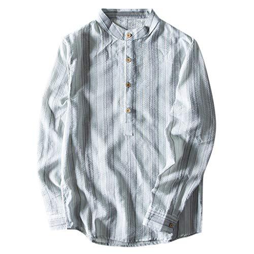 Herren Langarmshirt Ethnischen Stil Baumwolle Leinen Mischung Streifen Langarm Shirt Bluse Tops Freizeithemd M-5XL