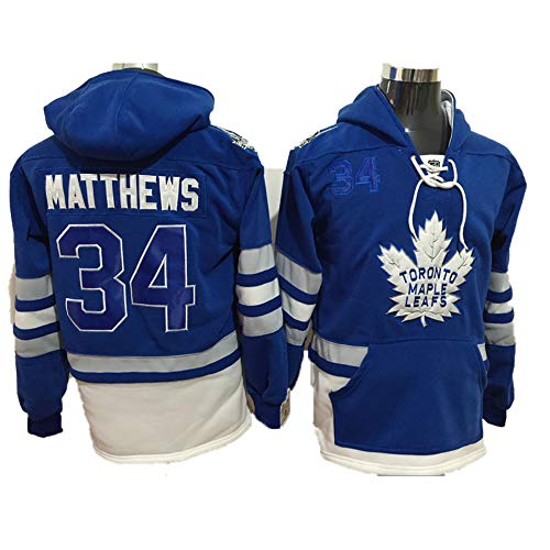 Yajun Kapuzen Pullover Hoodie NHL Auston Matthews#34 Toronto Maple Leafs T-Shirt Colorblock Sweatshirt Langärmlige Eishockey Trikots mit Tasche,Blue-34,M