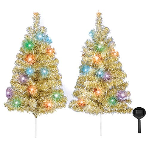 Collections Etc Solar Powered LED Lights Artificial Tinsel Trees - Set of 2