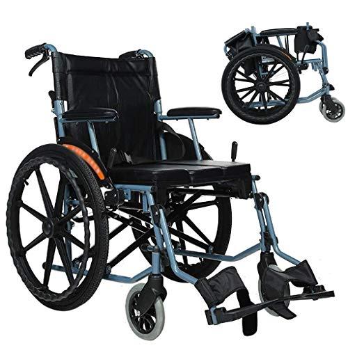 Wheelchair Faltbaren Rollstuhl, Stahl Rollstuhl mit Luftbereifung und Non-Luftreifen Doppelbremse for Behinderte/ältere Tretroller mit Selbstantrieb Rollstuhl