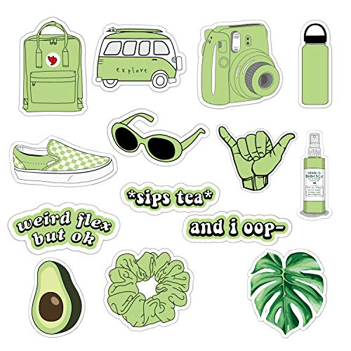 Vsco Girls Stickers for Water Bottles Big 14-Pack, Green Waterproof Stickers for Hydro Flask,Laptop,Phone,Travel, Photo Sharing, Outdoor - Cute, Trendy, Aesthetic Vinyl Stickers for Teen Girls, Kids