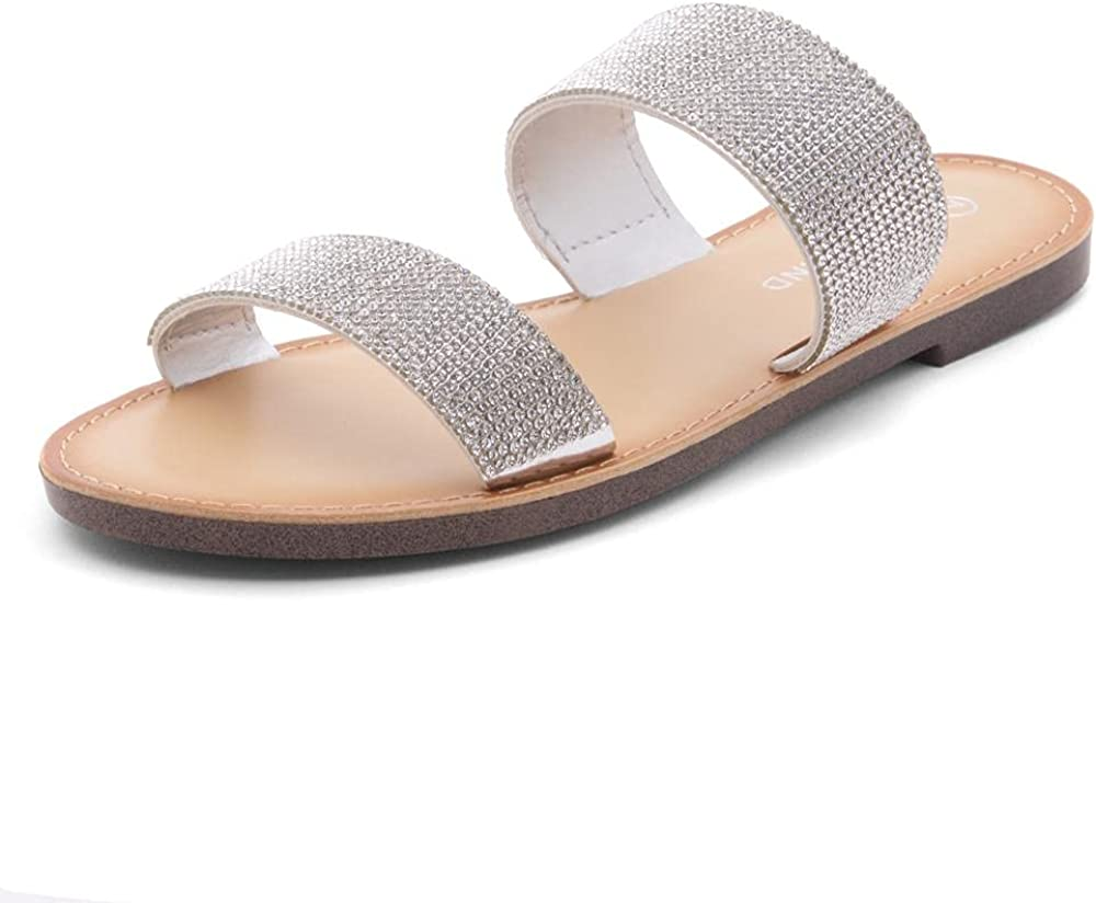 Shoe Land SL-NATIVE Women's Open Toes Two-Strap Flat Sandals Classic Slip-On Slide Shoes