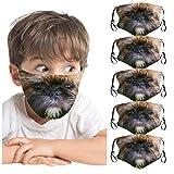 UINGKID 5PC Lustige 3D-gedruckte Mundschutz waschbare Winddichte Gesichtsschutz Unisex Kinder...