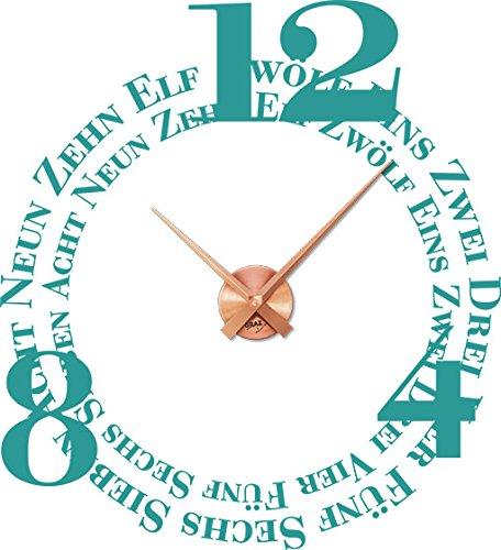 GRAZDesign 800011 muurtattoo klok wandklok met uurwerk voor woonkamer woorden cijfers Neun Acht Uhrwerk kupfer 054 Türkis