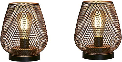 JHY DESIGN Set of 2 Metal Cage Table lamp Battery Powered, Cordless Accent Light with LED Edison Style Bulb for Bedroom Home Weddings Parties Patio Indoors Outdoors(Egg Shape)