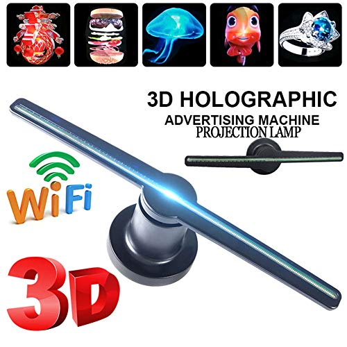 3D Hologramm Projektor Wifi Tragbare LED Holographic Fan Projektionslampe, 3D Holographischer Visuelle Werbung Display, Holographic Unterstützt MP4 / AVI/RMVB/MKV/GIF/JPG/PNG,Wifiversion,450*450px