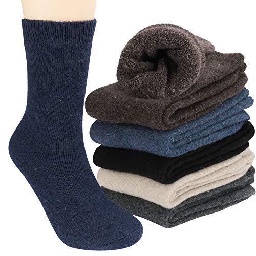 Tencoz Calcetines Lana Hombre, 6 pairs Calcetines Hombres Invierno 39-46 Premium Calidad Calcetines de Punto Hombre Calcetines Termicos Hombres Cómodo Suave Vintage Cálidos Gruesos Calcetines