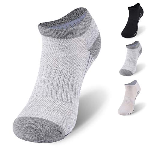 Bamboo Tennis Socks,Sunew Womens No Show Bamboo Socks, Cushioned Anti Slip Moisture Absorption Sweaty Workout Casual Sport Golf Socks 1 Pack Grey M