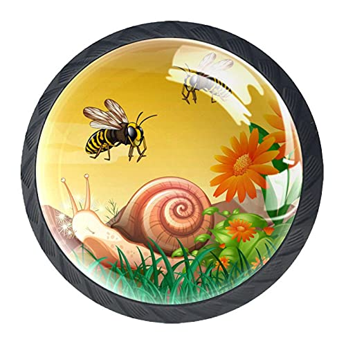 Nature Bees, moderno minimalista impresión armario manija cajón manija puerta armario manija 4 piezas traje