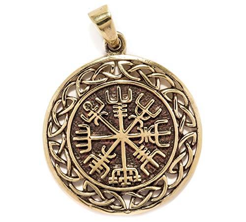 Windalf Vegvisir Vikings Amulett WINRAR Ø 3 cm Wikinger Kompass-Anhänger mit Knotenmuster Vintage Schutz Amulett Hochwertige Bronze