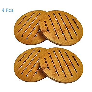 Para-wish 4 Pack Bamboo Trivet Mat Set, Heavy Duty Hot Pot Holder Pads, Non-Slip Hot Pot Holder (4, Round)