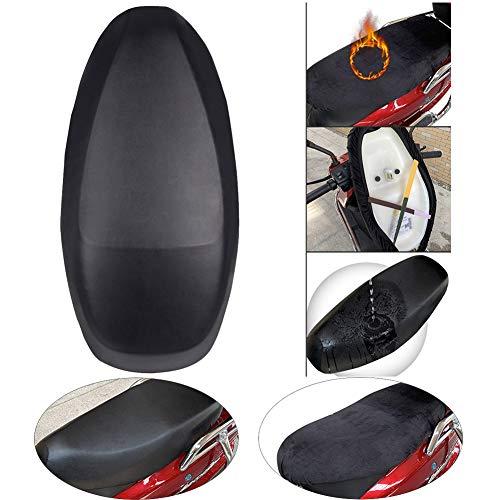 Ecisi Funda de Asiento de Motocicleta de diseño de Terciopelo y Cuero de Doble Cara 2 en 1, Protector de Cubierta de Asiento de Moto Universal Resistente al Desgaste para Todas Las Estaciones