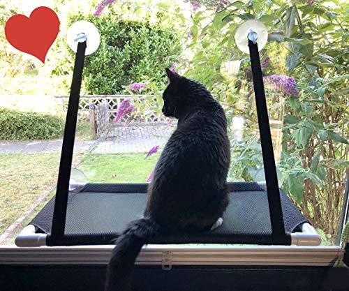 Premium Fensterplatz für die zufriedene Katze Katzenliege Mausblick 360° Ausblick Hängematte Fenstermontage Sonnenbad Katzen-Hängematte Fensterliegeplatz Fenster Bett Fensterbank TOP Saugnäpfen