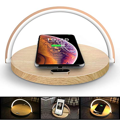 COOWOO Wireless Charger mit LED Lampe, 10W Kabelloses Ladegerät Touch Dimmbare Nachttischlampe Schreibtischlampe Holzmaserung Kompatibel mit iPhone 11/11 Pro/XR/8/Galaxy S10/S9/S8/Note 9/Note 8 usw