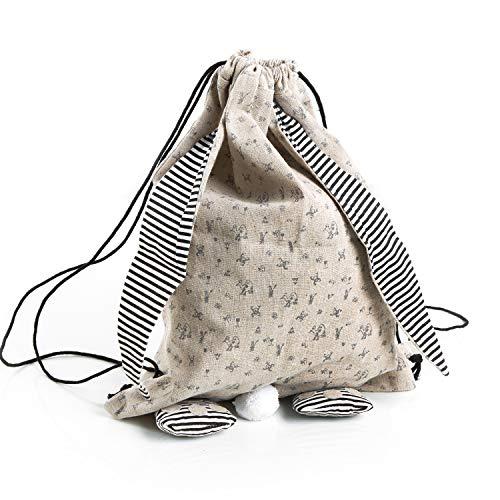 Logbuch-Verlag Rugzak van linnen natuur zwart wit - linnen tas voor Pasen als paasnest paasgeschenk decoratie haas paashaas