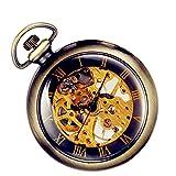 Lancardo Reloj de Bolsillo Mecánico de Cuerda Manual Esfera Transparente Dial Hueco de Números Romanos Collar de...