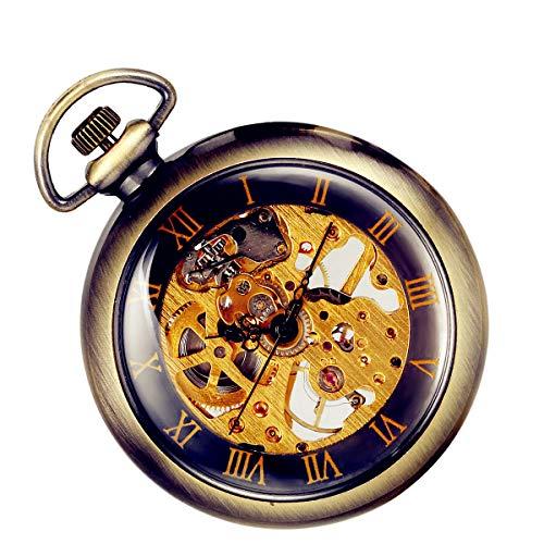 Lancardo Orologio Meccanico da Tasca per Uomo Quadrante Numeri Romani, Manuale Trasparente, Bronzo Regalo Perfetto