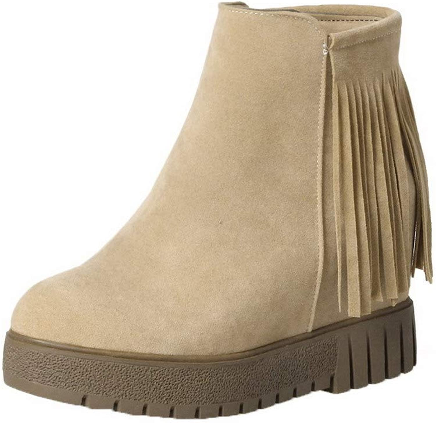 WeenFashion Women's Solid Frosted High-Heels Zipper Round-Toe Boots, AMGXX113226