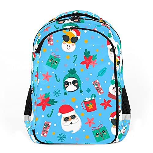 Mochila para niños unisex de dibujos animados para estudiantes escolares, impermeable, ideal para Navidad, Papá Noel, reno, diseño de pingüino, color azul