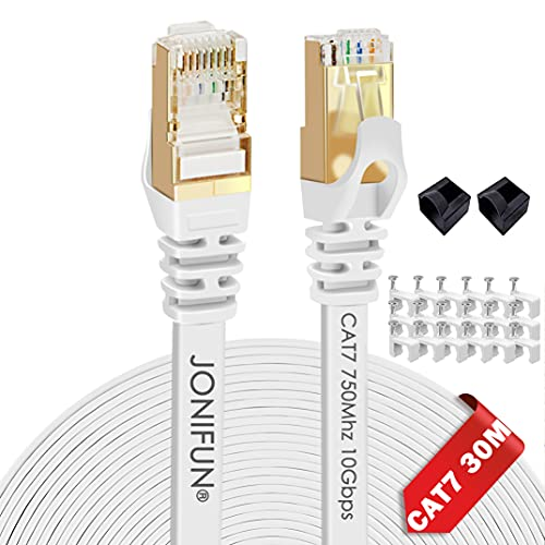 30m Cavo di Rete Cat7 Cavo Ethernet Lan Alta Velocit Cavi Ethernet 10Gbps 750Mhz, RJ45 Cavo per Router Switch Router Modem Access Point, Compatibile con CAT5/CAT5e/Cat6, Bianco /con Cable Clamps