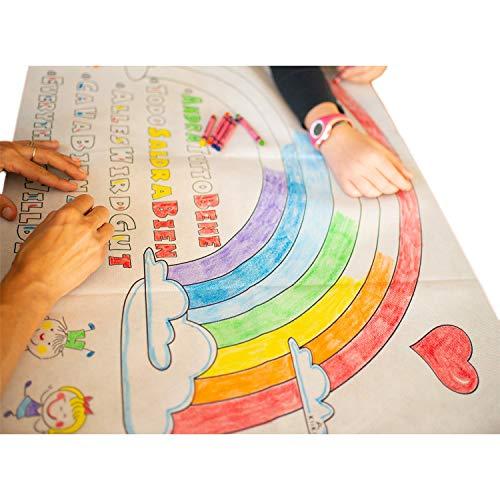 KliKil Bandera Todo saldrá Bien - 100x60 lienzos para Pintar Kit Dibujos para Colorear niño y Adulto - 7 crayones Colores Incluido para Colorear Dibujos de Arcoiris.