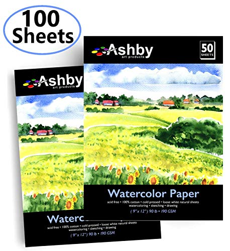 Ashby 100 Sheets of Practice Watercolor Paper (9' x 12') - 190 GSM, 100% Cotton, Acid-Free and Cold Pressed. Perfect for Painting or Drawing. Wet, Dry and Mixed Media. Bulk Pack