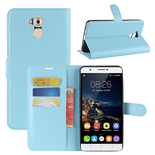 HualuBro Oukitel U16 Max Hülle, Premium PU Leder Leather Wallet HandyHülle Tasche Schutzhülle Flip Hülle Cover für Oukitel U16 Max Smartphone (Blau)