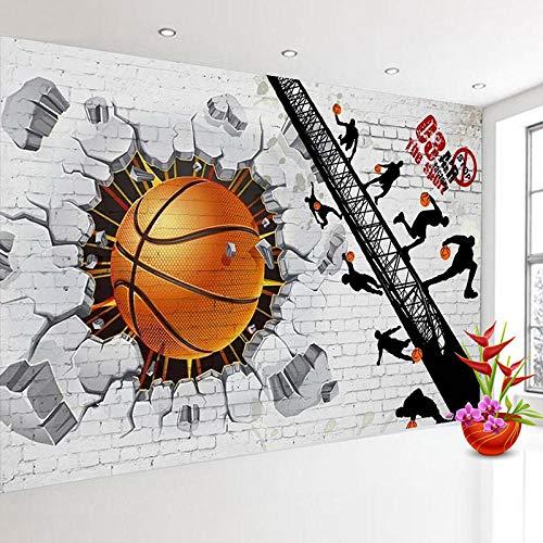 XIAOHUKK Papel pintado 3D pelado y pegado papel tapiz autoadhesivo papel tapiz de pared de ladrillo blanco cartel de baloncesto etiqueta de la pared para decoración del hogar