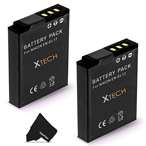 2 High Capacity Replacement Nikon EN-EL12 Batteries for Nikon Coolpix AW130, AW120, AW110, P340, S9700, P330, S9500, S9300, S9100, S8200, S8100, S8000, S6300, S6200, S6150, S6100, S6000, S1000pj, S1100pj, S1200pj, AW100, S800c, S610, S610c, S620, S630, S64