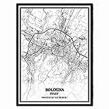 Bologna Italien Karte Wandkunst Leinwand drucken Poster