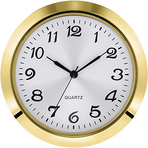 Hicarer 1.8 Inch (45 mm) Round Quartz Clock Insert with Arabic Numerals Fit 1.6 Inch (40 mm) Diameter Hole (Gold Bezel)