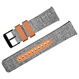 ZHIKE Watch Band, 22mm Soft Canvas & Leather Watch Straps, Classic Quick Release Wristband for Samsung Galaxy Watch 46mm/Gear S3 Frontier/Classic (Grey)